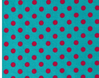 HALF YARD - Cosmo Textile 8831-13H - Watermelon Red Medium Polka Dots on Teal Aqua - Japanese Import Fabric