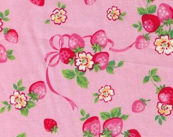 HALF YARD Yuwa - Strawberry Bunches with Pink Ribbon on PINK - 826387-A Atsuko Matsuyama 30s collection - Japanese Import