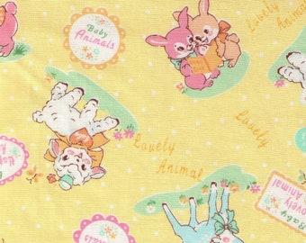 HALF YARD Yuwa - Lovely Animals on YELLOW - 826599-C - Atsuko Matsuyama 30s -Baby Deer, Bear, Bunny, Lamb, Balloons, Garden