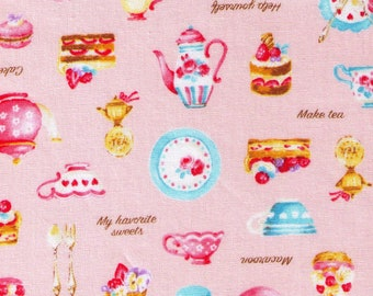 HALF YARD Cosmo Textile - Petite Patisserie Mix on Light PINK - AP76408 2B - Pastry, Tea, Macaron, Cake, Cafe, Plate  - Japanese Import