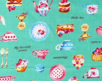 HALF YARD Cosmo Textile - Petite Patisserie Mix on Turquoise BLUE - AP76408-2C - Pastry, Tea, Macaron, Cake, Cafe, Plate  - Japanese Import