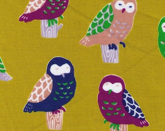 HALF YARD Cosmo - Perching Owls on Chartreuse Yellow 311-200-2B - Cotton Sheeting - Bird, Animal Japanese Import