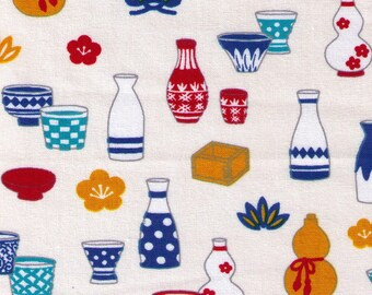 HALF YARD Cosmo Textile - Traditional Japanese Sake Bottles and Glasses on CREAM - AP81405 3A - Japanese Import Serving Dishes Wooden Cup