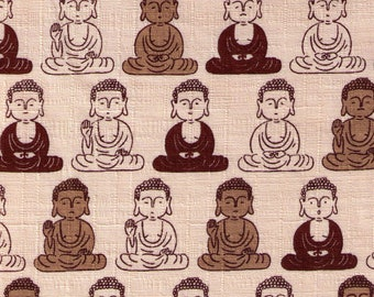 HALF YARD Cosmo Textile - Buddha on Natural - Cotton Dobby - 2801-A Japanese Import Fabric