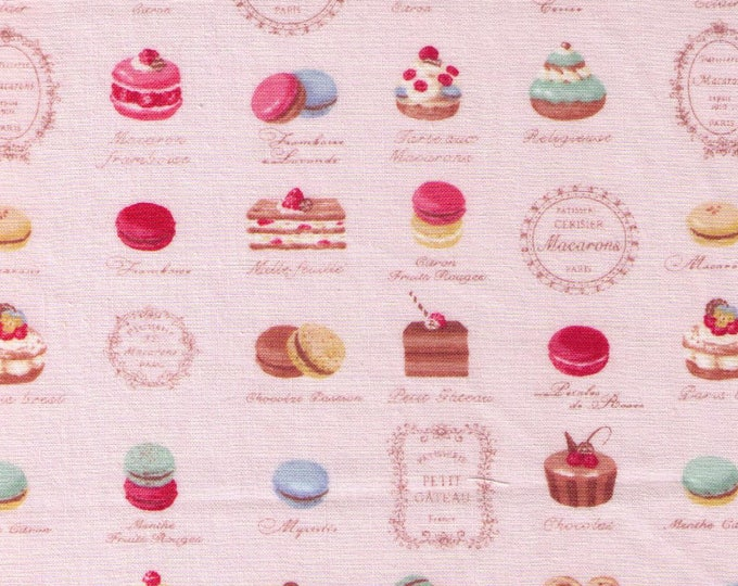 HALF YARD Yuwa - Mini Paris French Patisserie on Light Pink 816850-B - Quilting Cotton -Éclair Macarons Palmier Tart Cake Dessert - Japanese