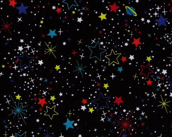 HALF YARD Cosmo Textile - The Cosmos on BLACK SP1800 9C - Stars, Planets, Rings, Space, Astronaut - Japanese Import