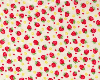 HALF YARD Yuwa - Mini Red Strawberries, Tiny Flowers and Polka Dots on IVORY  826597-D - Atsuko Matsuyama 30s collection