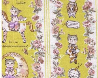 HALF YARD Yuwa - Sobakasu Kids - Magical Wonderland in Chartreuse - Bunny, Dog, Cat - Horse, Moon, Lullaby, Circus, Rabbit - Quilting Cotton