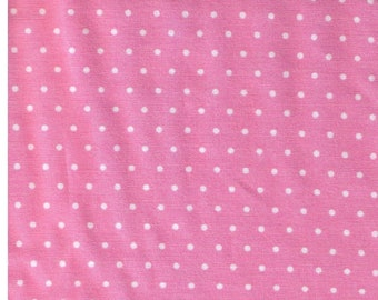 HALF YARD - Cosmo Textiles 8831-11G - White Pinpoint Polka Dots on Pink - Japanese Import Fabric