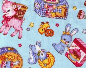 HALF Yard - Cosmo - Kawaii Animals and Treats Blue - 95411 1C - Cupcake, Cookie, Biscuit, Cereal, Pastry, Dessert, Deer, Duck Japanese