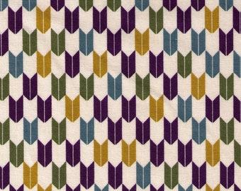 HALF YARD Cosmo Textile - Yabane in Spruce, Green, Purple on Natural AP1350 41C  - Traditional Geometric Japanese - Yagasuri Fletching Arrow