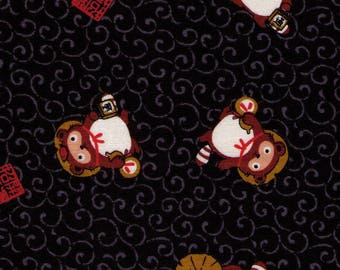 """End of Bolt - 24"""" Cut - Cosmo Textiles - Tanuki on BLACK - St-3901-3B - Japanese Import"""