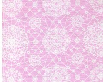 SHIP NOW - One Yard Precut - Yuwa - Sweet Lace on Pink 6533 A Atsuko Matsuyama - Japanese Import