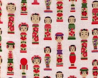 HALF YARD Westex - Kokeshi Dolls on Cream - Traditional Design, Cherry Blossom, Toys, Red, Green - Japanese Import