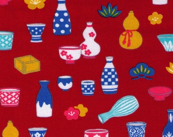 HALF YARD Cosmo Textile - Traditional Japanese Sake Bottles on RED - 81405 3C - Japanese Import Serving Dishes Wooden Cup