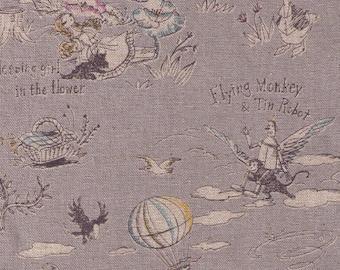 HALF YARD Yuwa - Wizard of Oz on Grey  - Miyako Kawaguchi - Cotton Linen Canvas - Fairy Tale Wonderful Wizard with Dorthy