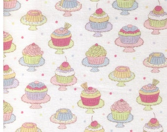 HALF YARD  Yuwa - Mini Cupcakes on Stands on IVORY 812941-A - Polka Dots, Candy, Cookies, Strawberry, Chocolate, Lolipop - Japanese Import