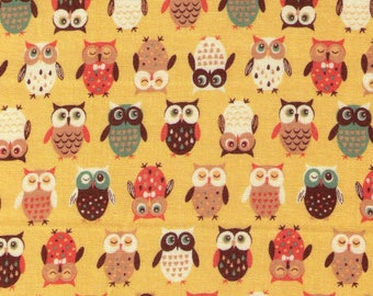 HALF YARD Cosmo Textile - Pygmy World - Mini Owls on YELLOW - AP1370-7A - Japanese Import