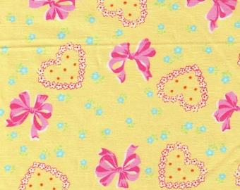 HALF YARD Yuwa - Bows, Hearts and Flowers on YELLOW 826601-E Atsuko Matsuyama 30s collection