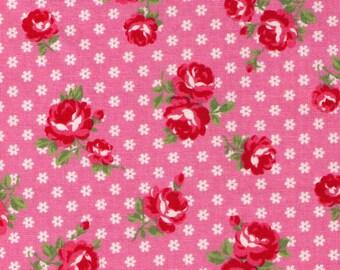 HALF YARD Yuwa - Red Sweet Rose on Tiny Daisies Dots on Medium Pink - Atsuko Matsuyama 116547-A- Japanese Import Fabric