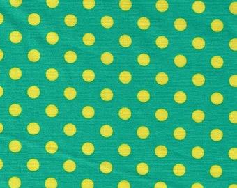 HALF YARD Cosmo Textile - Yellow Medium Polka Dots on Green CR8876-324 - Japanese Import Fabric
