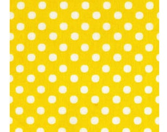 HALF YARD - Lecien - Color Basic - 4506-LY Yellow with White Medium Dots - Japanese Import Fabric