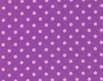 HALF YARD Cosmo Textile - Pink Polka Dots on Medium Purple  CR8876-211 - Japanese Import Fabric