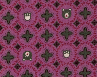 HALF Yard Cosmo - Bear Faces and Paw Prints in Purple - 01917 1D - Japanese Import