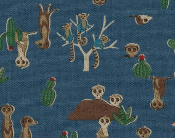 HALF YARD - Kokka - Rare Animals - Meerkats - Blue 21030 2A - Cotton Linen Blend - Japanese Import