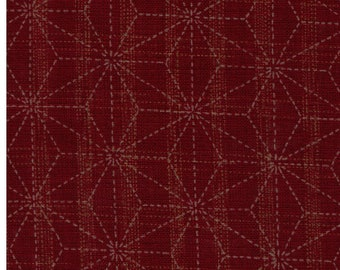 HALF YARD Asanoha Lines on Dark Red 88500-2-3 - Traditional Geometric Diamond Japanese Design - Hemp Plant Design