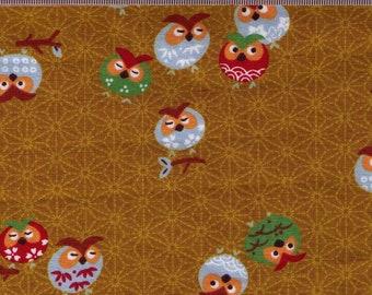 HALF YARD Owls on Asanoha Mustrard Yellow - Y3060-28A Traditional Geometric Japanese - Birds, Owlet on Hemp Design, Weave