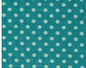 HALF YARD - Cosmo Textile 8831-13Q - Light Mint Medium Polka Dots on Teal Green - Japanese Import Fabric