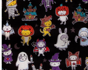 HALF YARD - Kokka  Animals in Costumes on BLACK 36100-1C - Pumpkin, Ghost, Cat, Bunny, Vampire, Bat,  Haunted House - Japanese Import