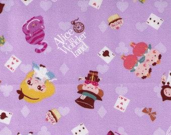 HALF YARD Kiyohara- Alice in Wonderland Mix on Purple 10V -  Fairytale - Japanese