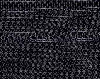 HALF YARD Yuwa Live Life - Geometric Print 442643-F - White on BLACK - Cotton Linen Oxford  - Japanese Import Fabric
