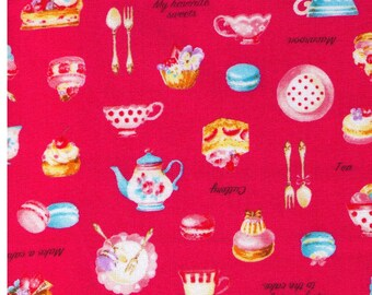 HALF YARD Cosmo Textile - Petite Patisserie Mix on Raspberry PINK - Ap76408 2D - Pastry, Tea, Macaron, Cake, Cafe, Plate  - Japanese Import