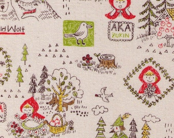 HALF YARD Kokka - Little Red Riding Hood on Natural - Wolf, Toadstool, Woodsman, LGA26000-2A Cotton Oxford - Japanese Imported