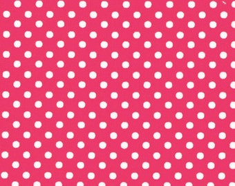 HALF YARD - Lecien - Color Basic - 4505-DP  White Small Dots on Dark Pink - Japanese Import Fabric