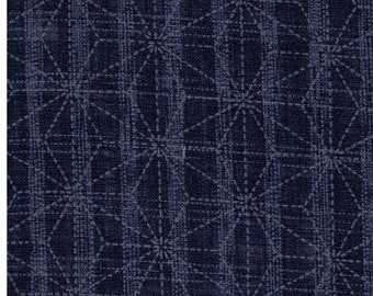 HALF YARD Asanoha Lines on Blue 88500-2-2 - Traditional Geometric Diamond Japanese Design - Hemp Plant Design