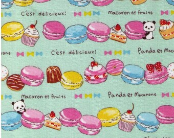 HALF YARD Kobayashi - Panda et Macarons on Mint KTS6398C - Cotton Canvas - Strawberry Paris French Cherry Dessert Cupcake - Japanese