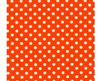 HALF YARD - Lecien - Color Basic - 4505-OR Orange with White Small Dots - Japanese Import Fabric