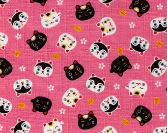 HALF YARD Cosmo Textile - Fuku Fuku - Lucky Cat Face Toss on PINK AP76305 1B - Cotton Dobby - Japanese Import