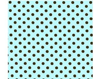 HALF YARD - Lecien - Color Basic - 4505-LC  Black Dots on Light Mint Green - Mint Chocolate Chip - Japanese Import Fabric