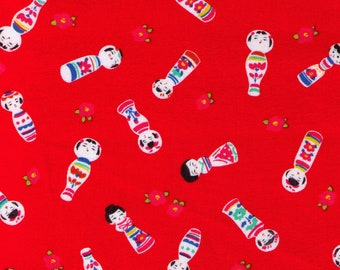 HALF YARD Cosmo Textile - Kokeshi Dolls on RED - AP76411 3C - Japanese Import - Red Flower Bud
