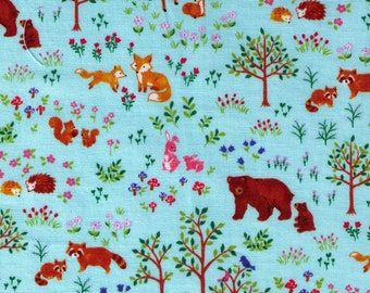 HALF YARD Cosmo Textile - Forest Families on AQUA SP1800-3D - Bear, Deer, Hedgehog, Raccoon, Fox - Japanese Import