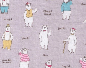 HALF YARD Cosmo Textile - Stylish Polar Bears on GREY Double Gauze - AP76304 2E - Suspenders, Suit, Vest, Cane, Bowtie  - Japanese Import