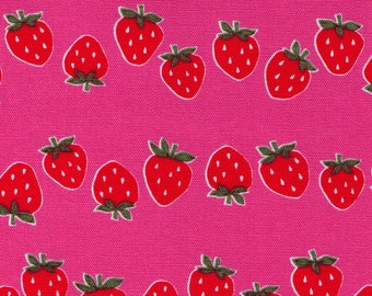 "End of Bolt - 12"" Cut - Cosmo Textile - Bouncing Strawberries on PINK - AP81602 1D - Cotton Oxford - Japanese Import"