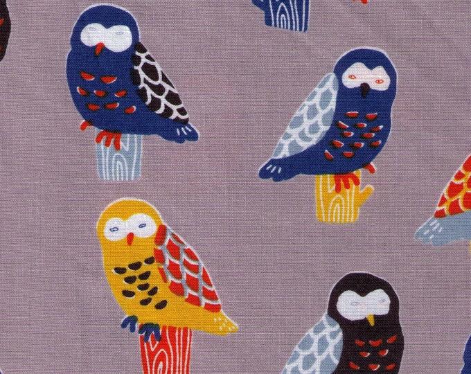 HALF YARD Cosmo - Perching Owls on Grey - Cotton Sheeting - Bird, Animal Japanese Import