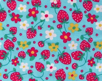 HALF YARD - Strawberry and Blossoms on BLUE - 49084-70 - Strawberry Patch - Cotton Oxford - Japanese Import