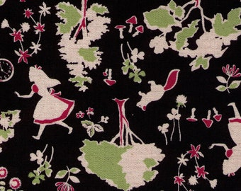 HALF YARD Kokka - Alice in Wonderland - Forest - BLACK - 85/15 Cotton Linen Blend - Japanese Import - 43000-301E